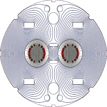 Lineas de fuerza magnética.